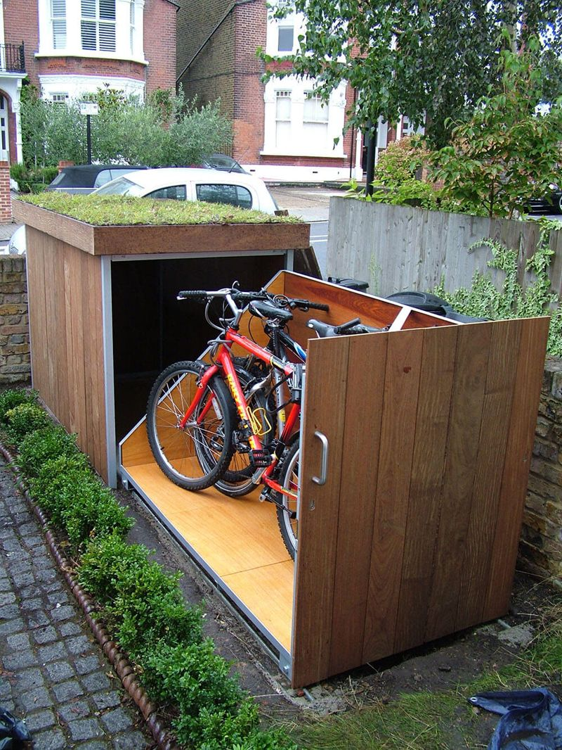 This outdoor bike storage locker comes from the bright minds of london based tree