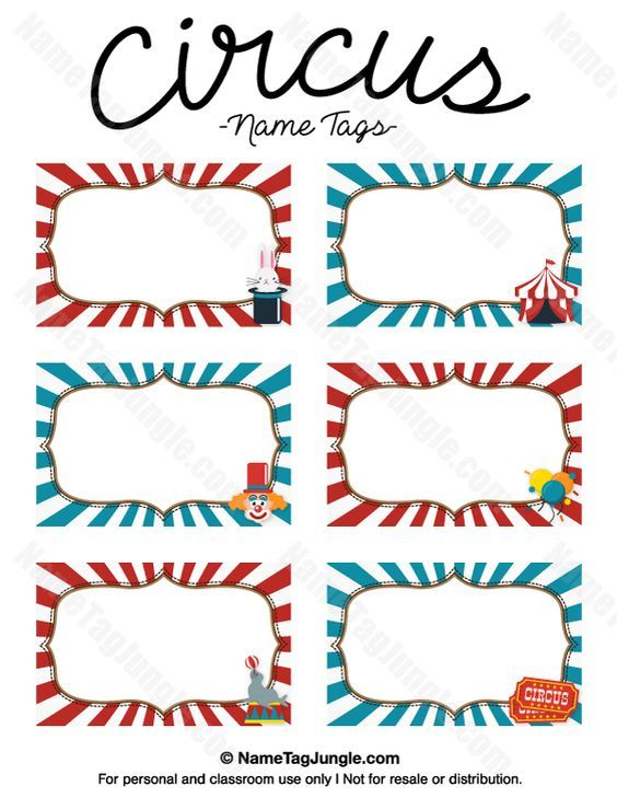 Free printable circus name tags The template can also be used for - name labels templates free