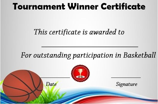 Basketball Tournament Winner Certificate  Basketball Certificate