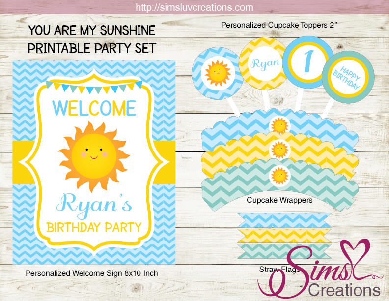 You Are My Sunshine Birthday Cupcake Toppers Party Favor Tags Editable PDF