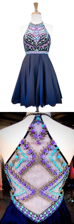 Stylish halter sleeveless short navy homecoming dress beading