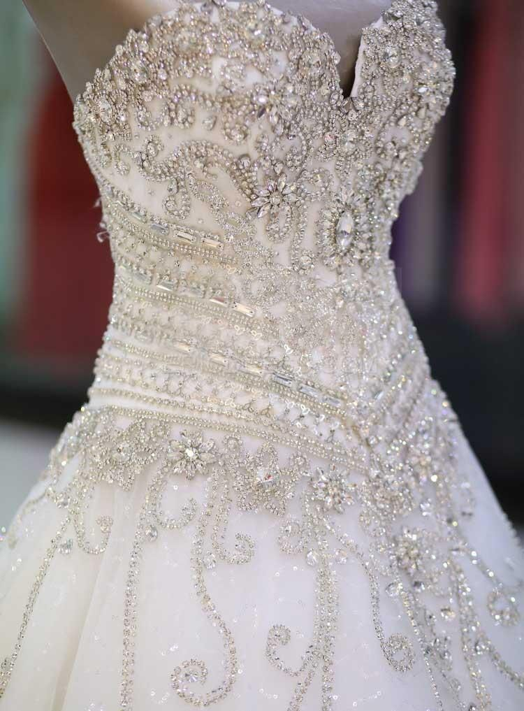 Sweetheart Rhinestone Appliques Cathedral Wedding Dress | Beautiful ...