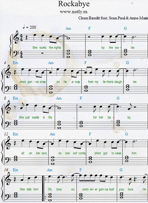 Clean Bandit Anne Marie Rockabye Download Pdf Piano Sheet