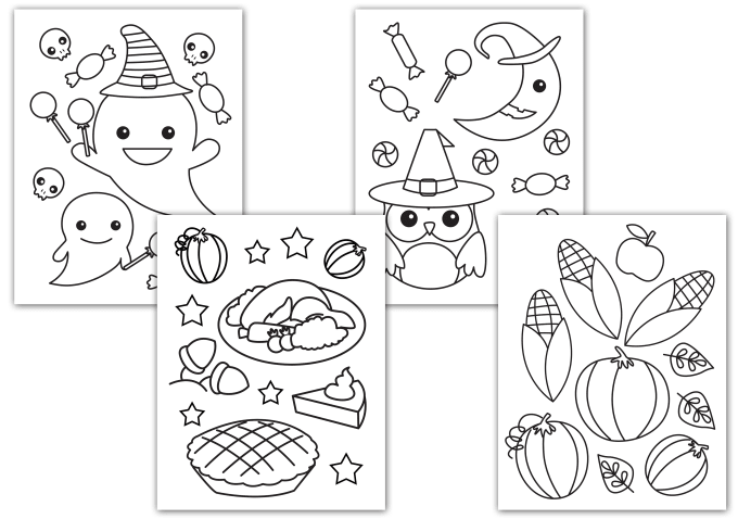 Draw Black Outline Children Coloring Book Page