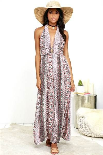 159452338230 This easy and breezy printed long dress from Lulu s is so comfortable for hot  summer days.