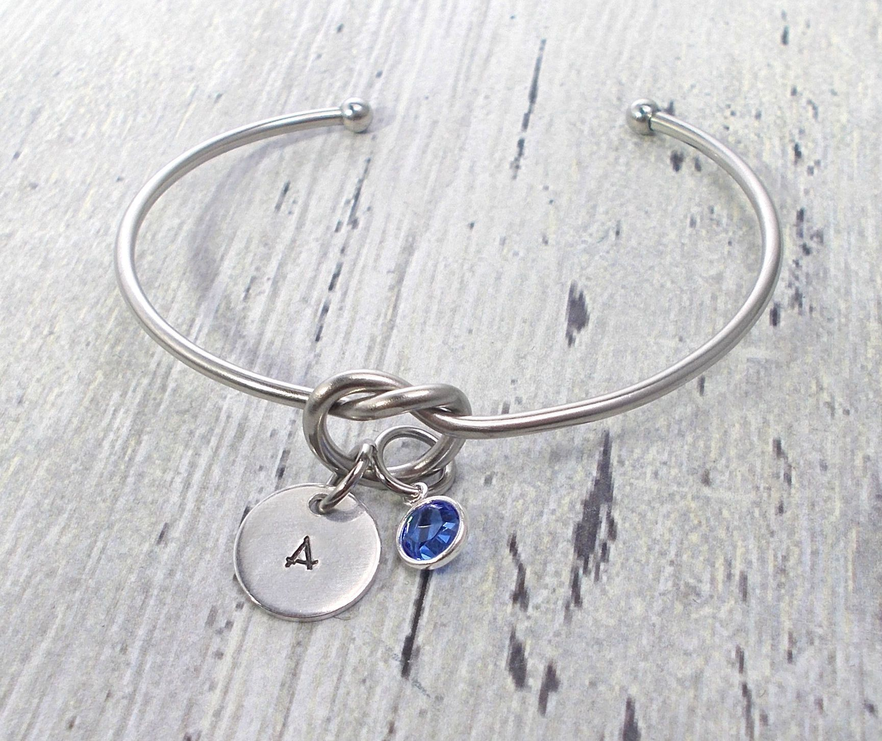 Knot Bracelet Personalized Bridesmaid Gift S Tie The Jewelry Bangle
