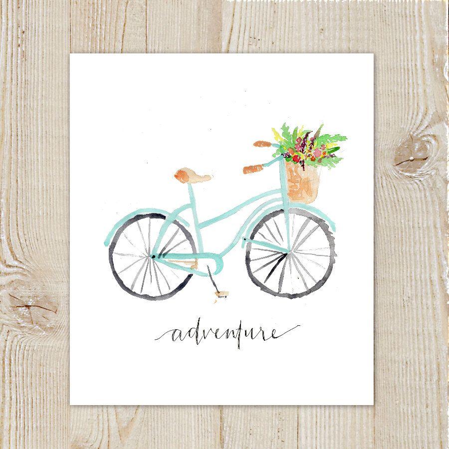 Vintage Bicycle Adventure Floral Bike Watercolor Instant Download Printable Print