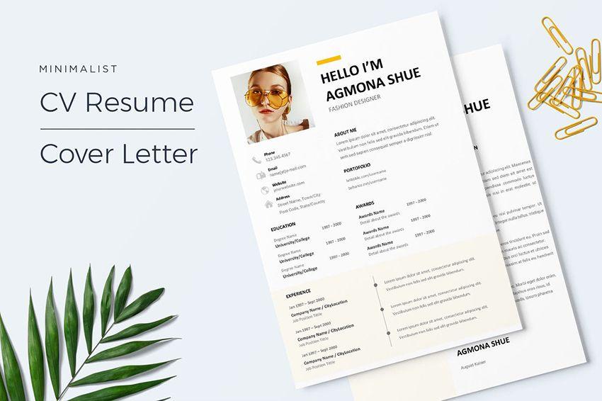 22 free minimalist resume templates word indesign more