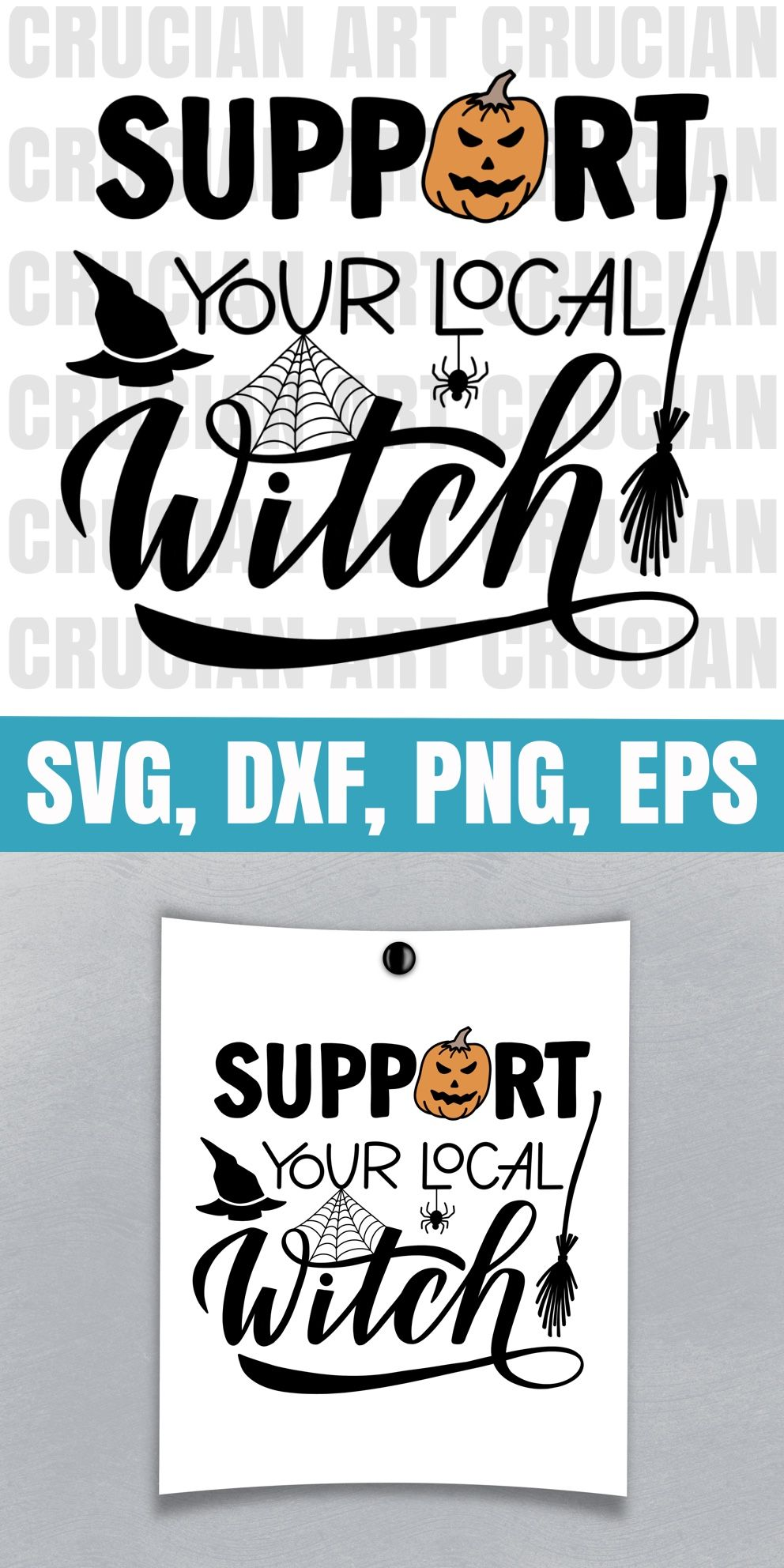 Funny Halloween Design. Support Your Local Witch Sign. Instant Download Clipart. SVG, PNG files. #happyhalloweenschriftzug