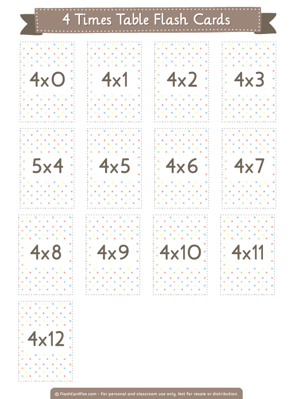 Free printable 4 times table flash cards. Download them in PDF ...