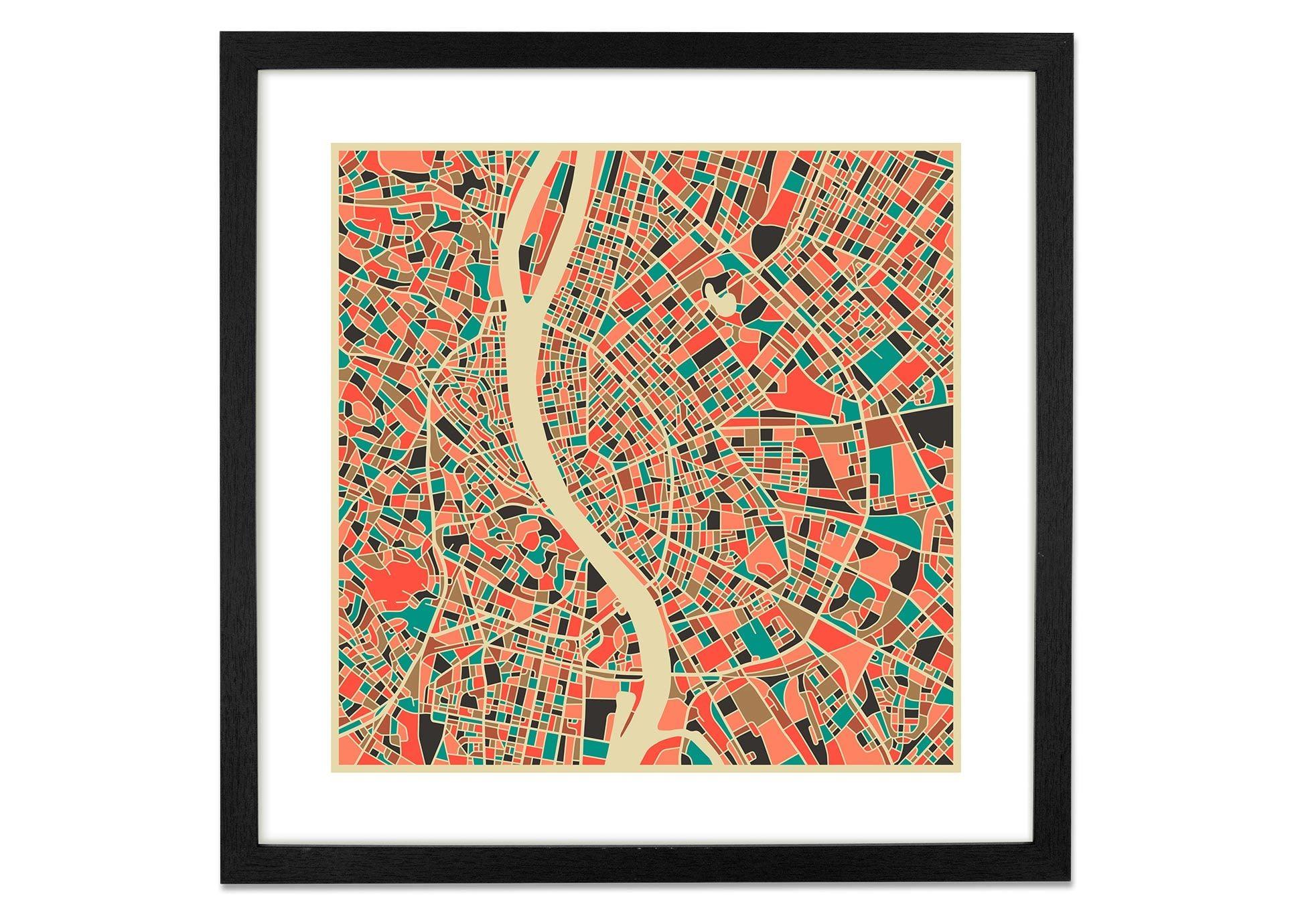 inspiration --> gerahmte Kunst - Budapest Map von Jazzberry Blue, 50 ...