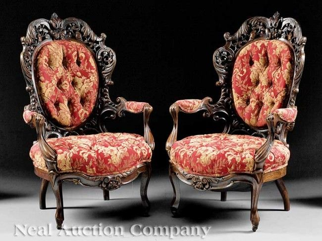 C1850 Rococo open arm chairs, laminated rosewood, 43t, 12-3,6.