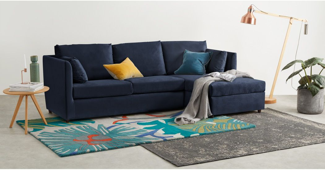 Milner Right Hand Facing Corner Storage Sofa Bed With Memory Foam Mattress Regal Blue Velvet Living Room In 2019 Sofa Velvet Corner Sofa Sofa Bed