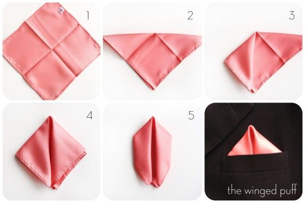 How To Fold A Pocket Square Winged Puff