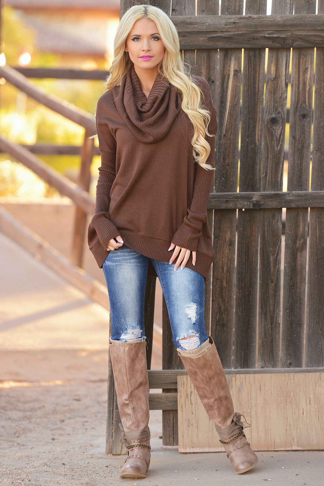 Chocolate Brown Sweater from Closet Candy Boutique and Jeans and ...