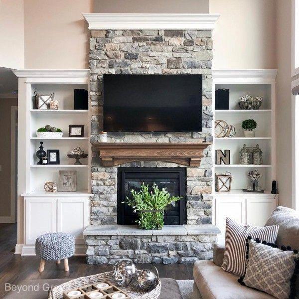 homedecor classic #homedecor Classic Farmhouse Stone Fireplace #homedecor #livingroomideas