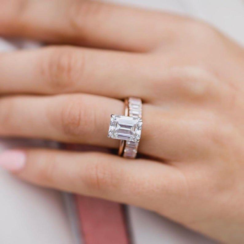 2PCS Emerald cut Moissanite engagement ring set vi