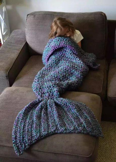 Mode Kreative Strick Meerjungfrau Schwanz Kind Babydecke Mädchen ...