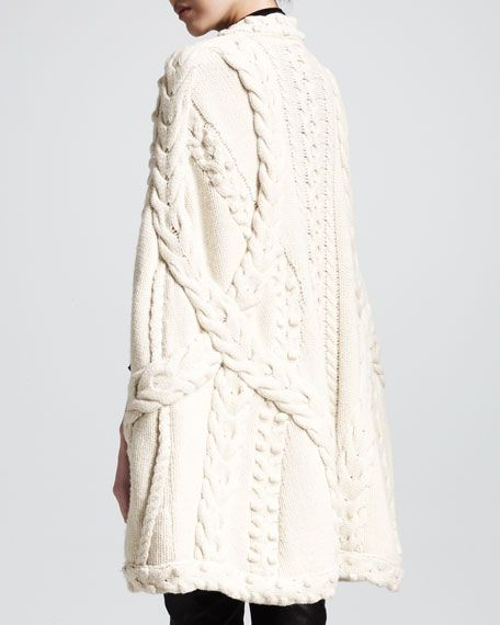 Mixed-Knit Cape