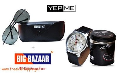 awesome Yepme Sunglasses + Watch + Rs 100 Big Bazar GV at Rs 499