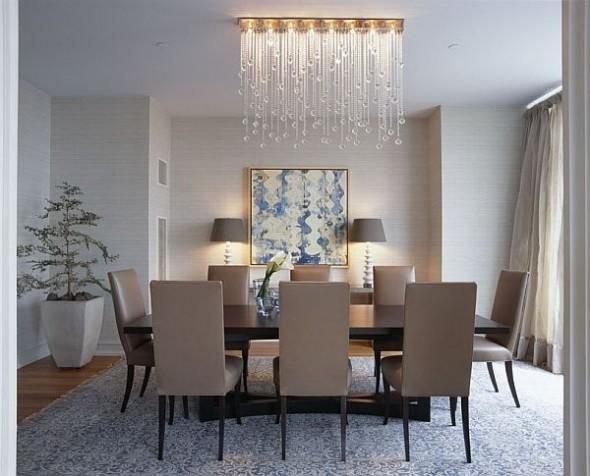 Dining Room With Waterfall Crystal Lamp Modern Dining Room Spanish Dining Room Beautiful Dining Rooms