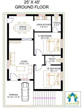 Floor Plan For 25 X 45 Feet Plot With Images 20x40 House Plans 20x30 House Plans 2bhk