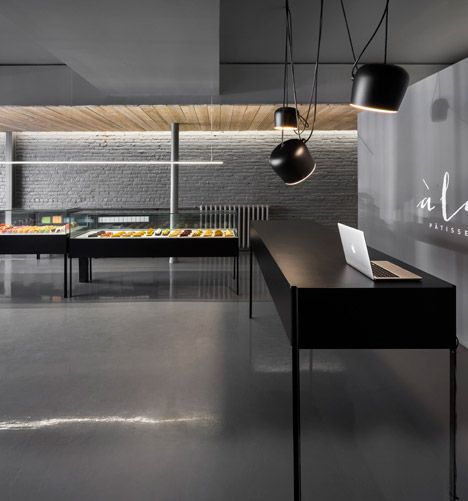 Montreal Patisserie Contrasts Colourful Cakes With Grey Tones Interior Design BlogsArchitecture