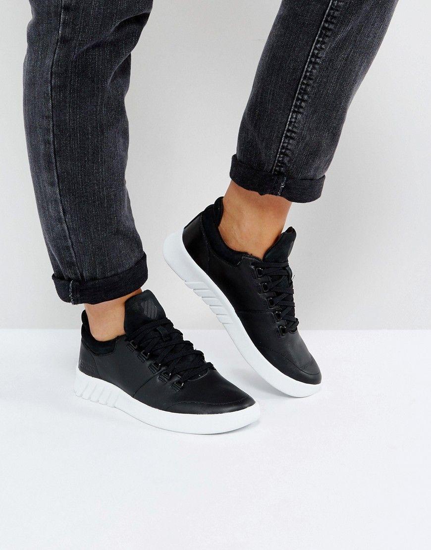 5a78376ddcb K-SWISS AERO LEATHER SNEAKERS IN BLACK - BLACK.  k-swiss  shoes ...
