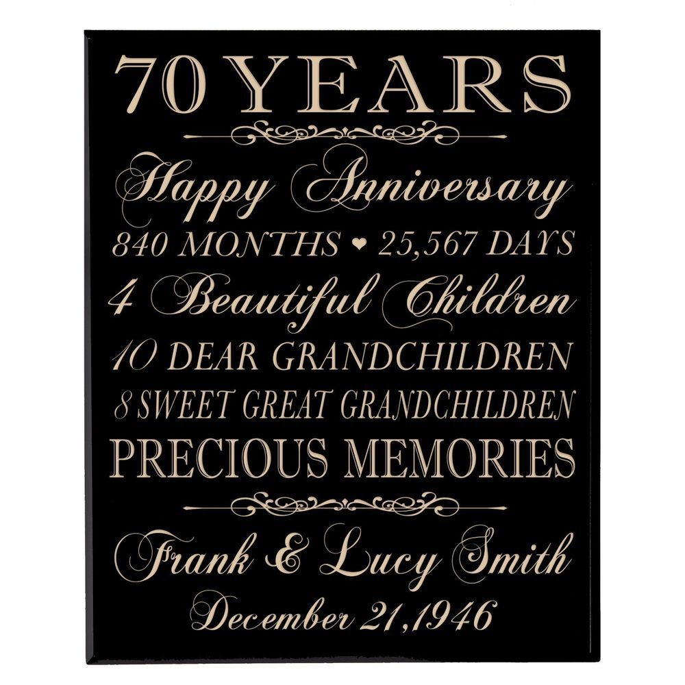 70th Wedding Anniversary Gift Wooden Wall Hanging Plaque