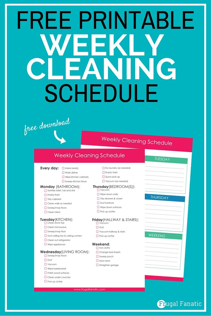 Free Weekly Cleaning Schedule   Pinterest   Cleaning schedules ...