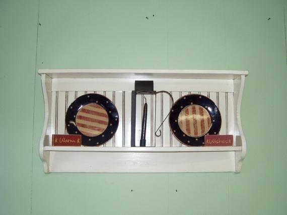 Primitive Country Shelf and Plate Rack Antiqued White Rustic Display Shelf 42 / Plate Rack / Wall Shelf #plateracks