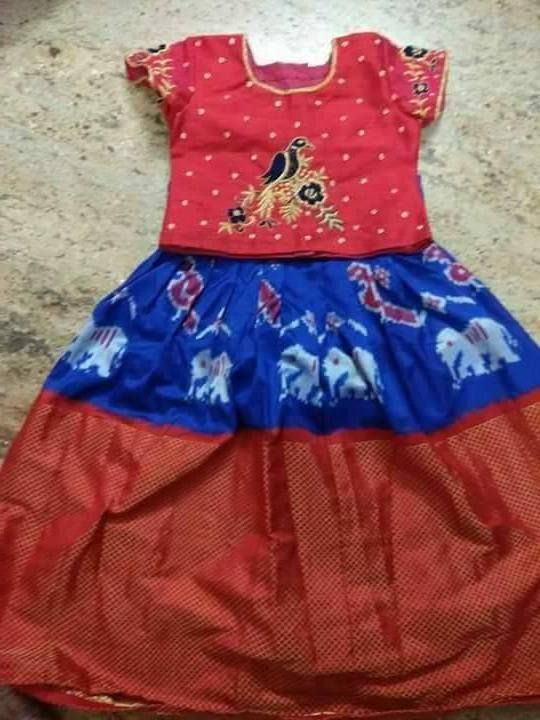 fb181cb3ff9924 Blue Red Ikkat Lehenga. Find this Pin and more on Kids Lehenga Designs by  Salwaars.com.
