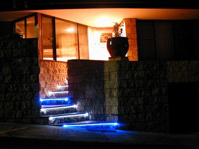 Outdoor Stair Lighting: Outdoor Stone Stairs With Elegant LED Strips Light