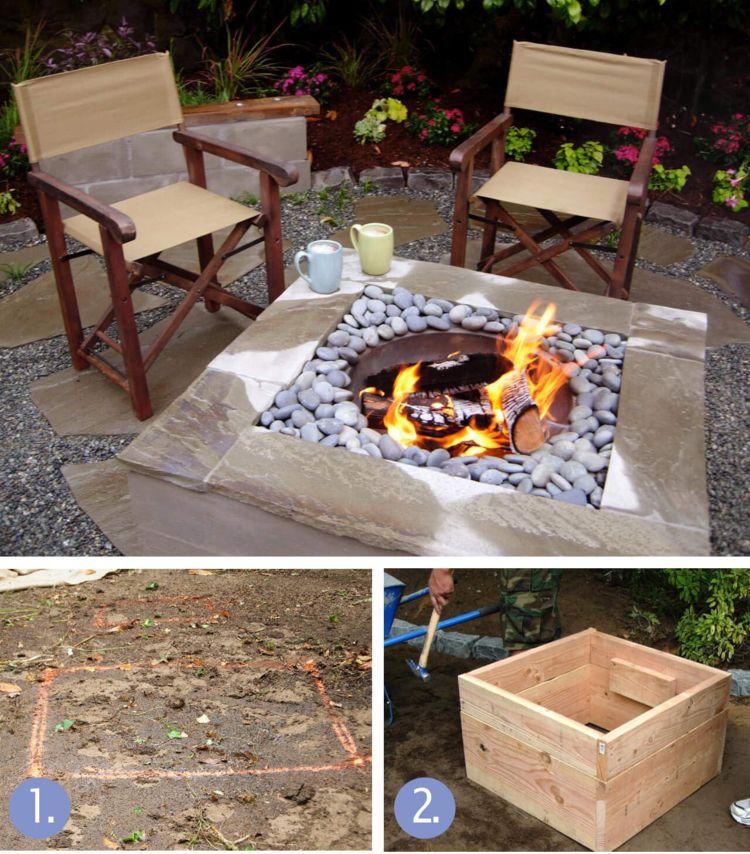 Offene Feuerstelle Terrasse Beton Steine Selber Machen Metall Feuerschalle Feuerstelle Garten Offene Feuerstelle Feuerstelle