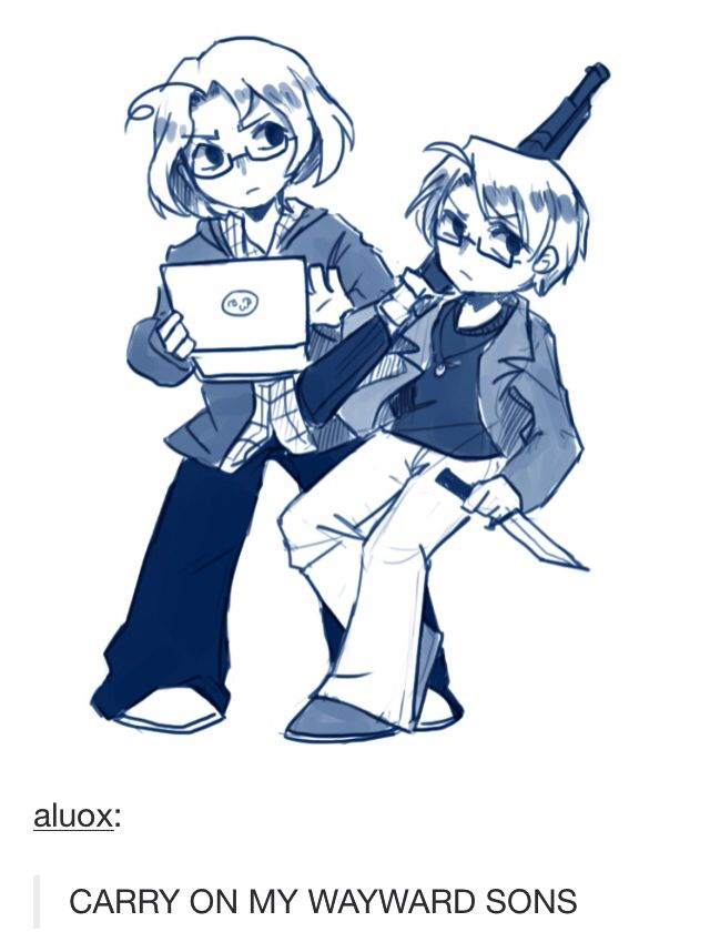 OMG Matthew and Al as Sam and Dean. Idk I should pin this on my hetalia board or supernatural