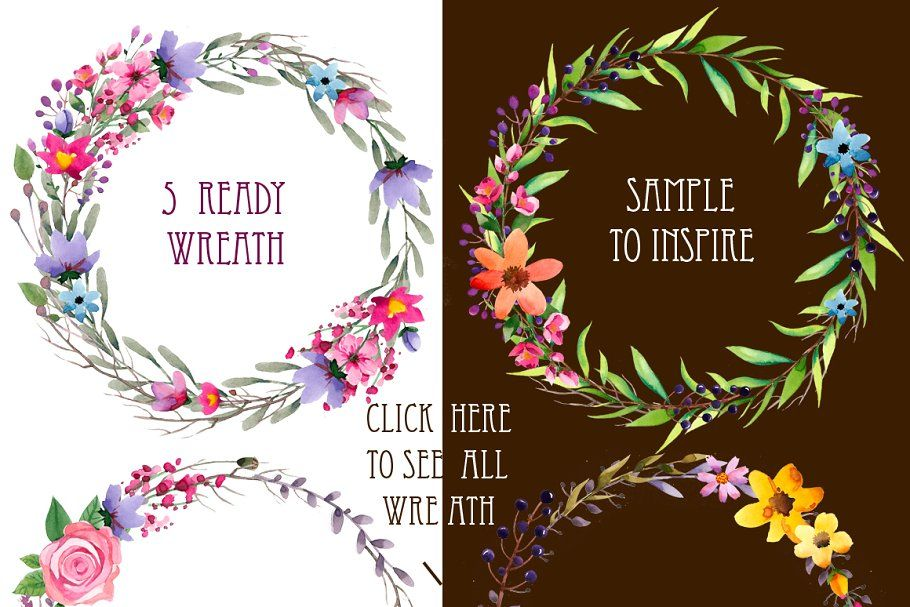 Photo of Watercolor elements. Create wreath Custom Illustrations ~ Creative M …
