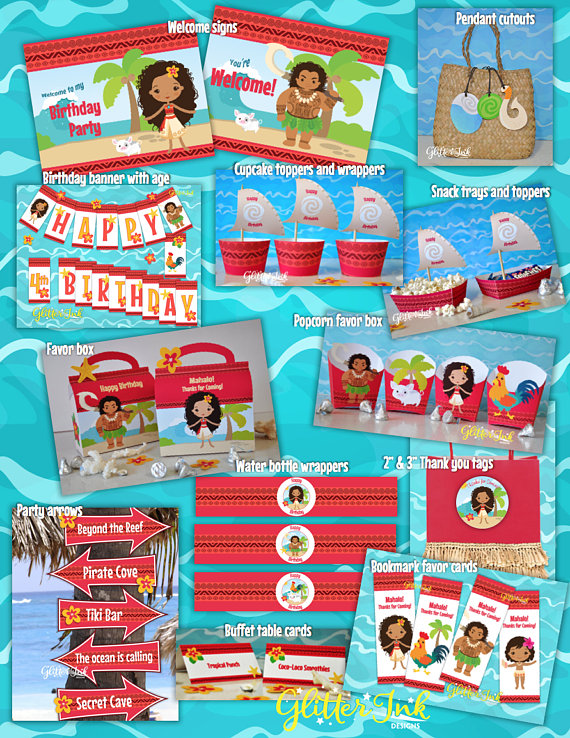 16d9a817d3207 Moana Polynesian inspired party package decor kit - pdf printable ...