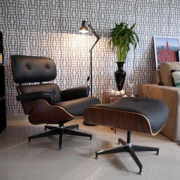 Charles Eames Poltrona.Conjunto Poltrona Com Puff Charles Eames Preto Cadeiras