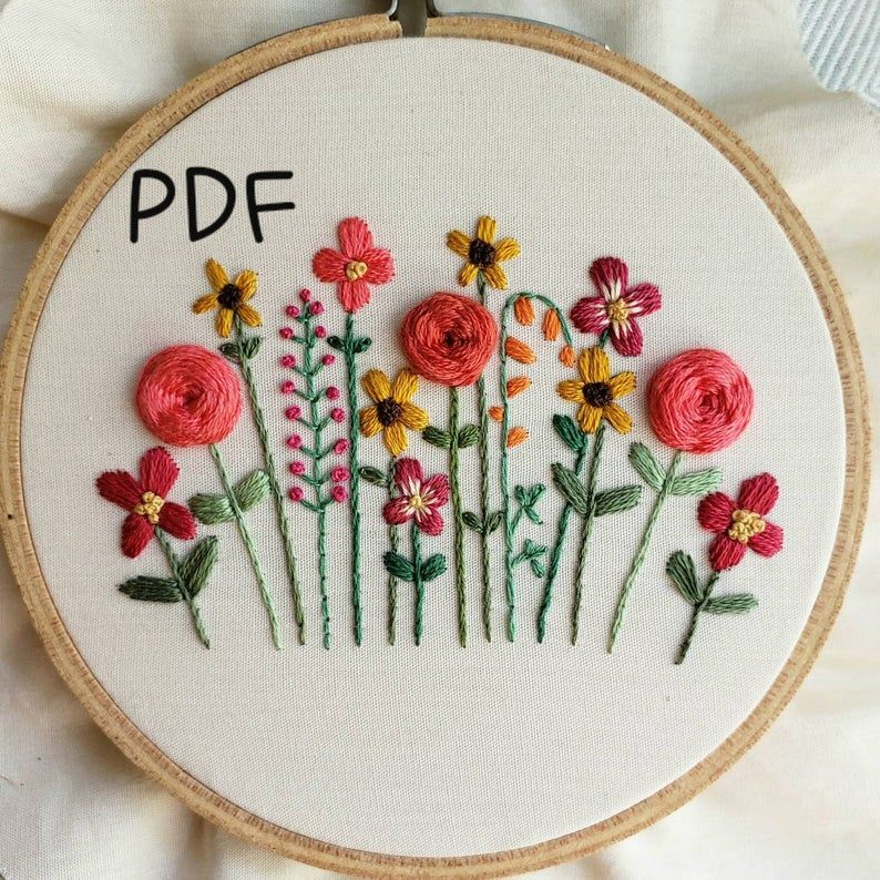 Bright Flowers Colorful Embroidered Bouquet DIY Craft Project Bright Floral Hand Embroidery Pattern by And Other Adventures