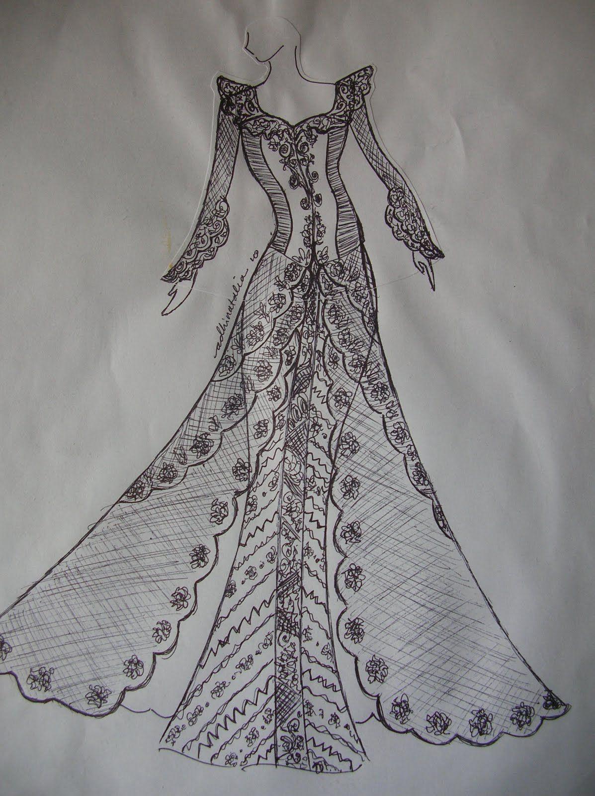 70 Sketsa Desain Baju Batik Batik Gaun Victoria Desain