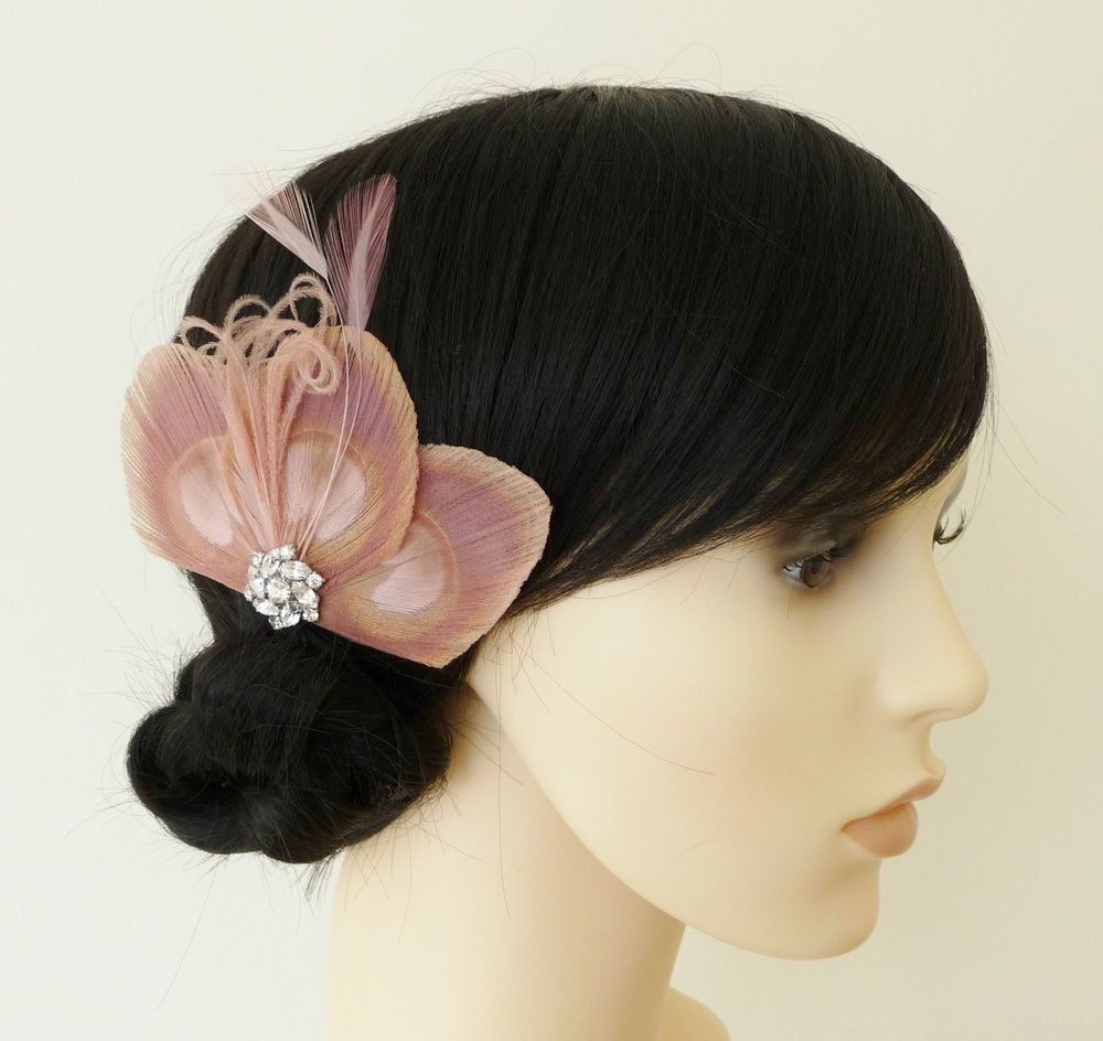 dusky pink peacock feather fascinator hair clip bridesmaids