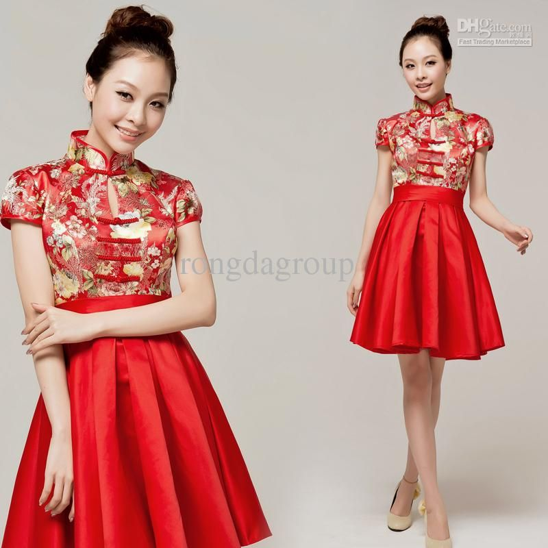 Wholesale Revised Qi Pao Chinese style red short design the wedding evening dress bridesmaid dress, $79.67-102.14/Piece | DHgate