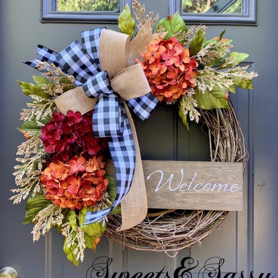 Fall wreath with hydrangeas and custom welcome sign #frontdoordecor #falldecor #welcomesign #hydrangeas