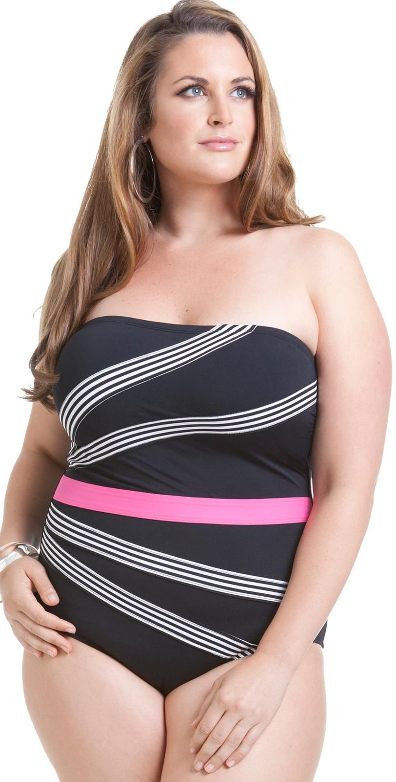 annecole 2014 plus size mini stripe color block #swimsuit 14po018