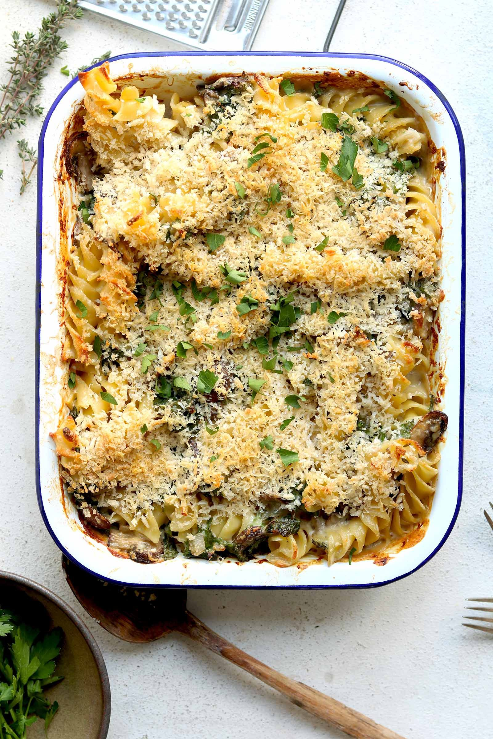 Creamy Kale Mushroom Pasta Bake Mushroom Pasta Bake Dinner Recipes Easy Quick Lunch Recipes Healthy