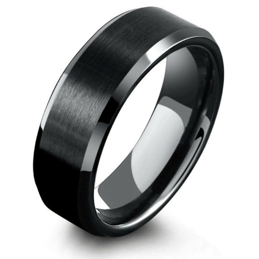 8mm mens black tungsten wedding ring with matte center