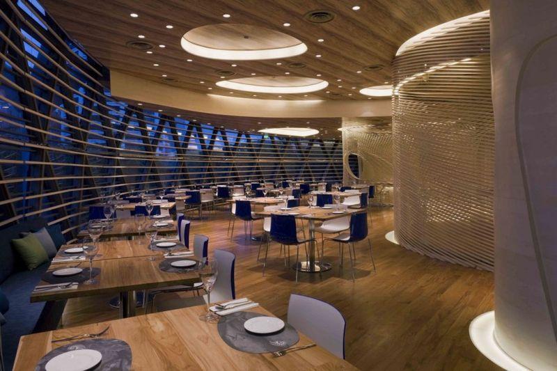 side table of Elegant Restaurant with Luxury Lighting