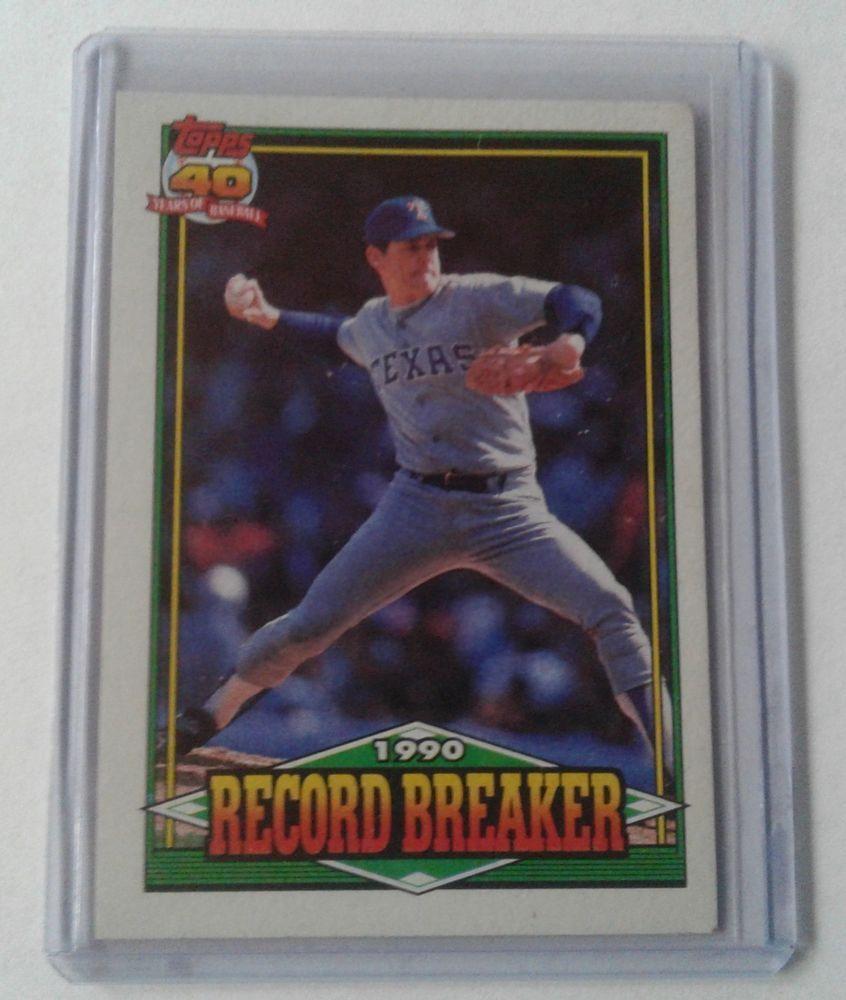 1990 Topps Glow Back Error Nolan Ryan Record Breaker Card 6