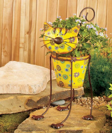 Colorful Metal Garden Dog Or Cat Planters Products Pinterest Planters Metal Accents And