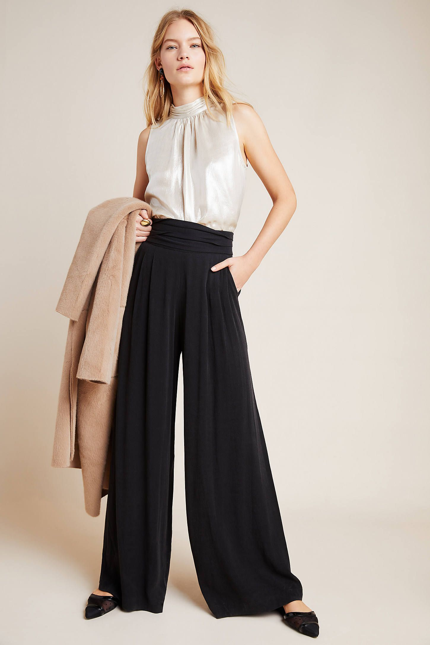 Ophelia Wide-Leg Trousers by The Odells in Black Size: S, Women's Pants at Anthropologie 1